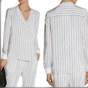 Tibi Silk Wrap effect Top Blouse Long Sleeves S